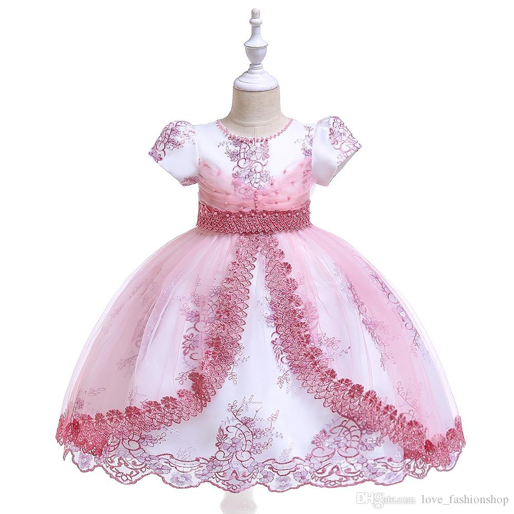 Luxury Pearl Embroidered Lace Flower Ball wedding gowns Dress Short Sleeve Ruffle Pleated Lace Applique Princess Formal Full Party Dresses