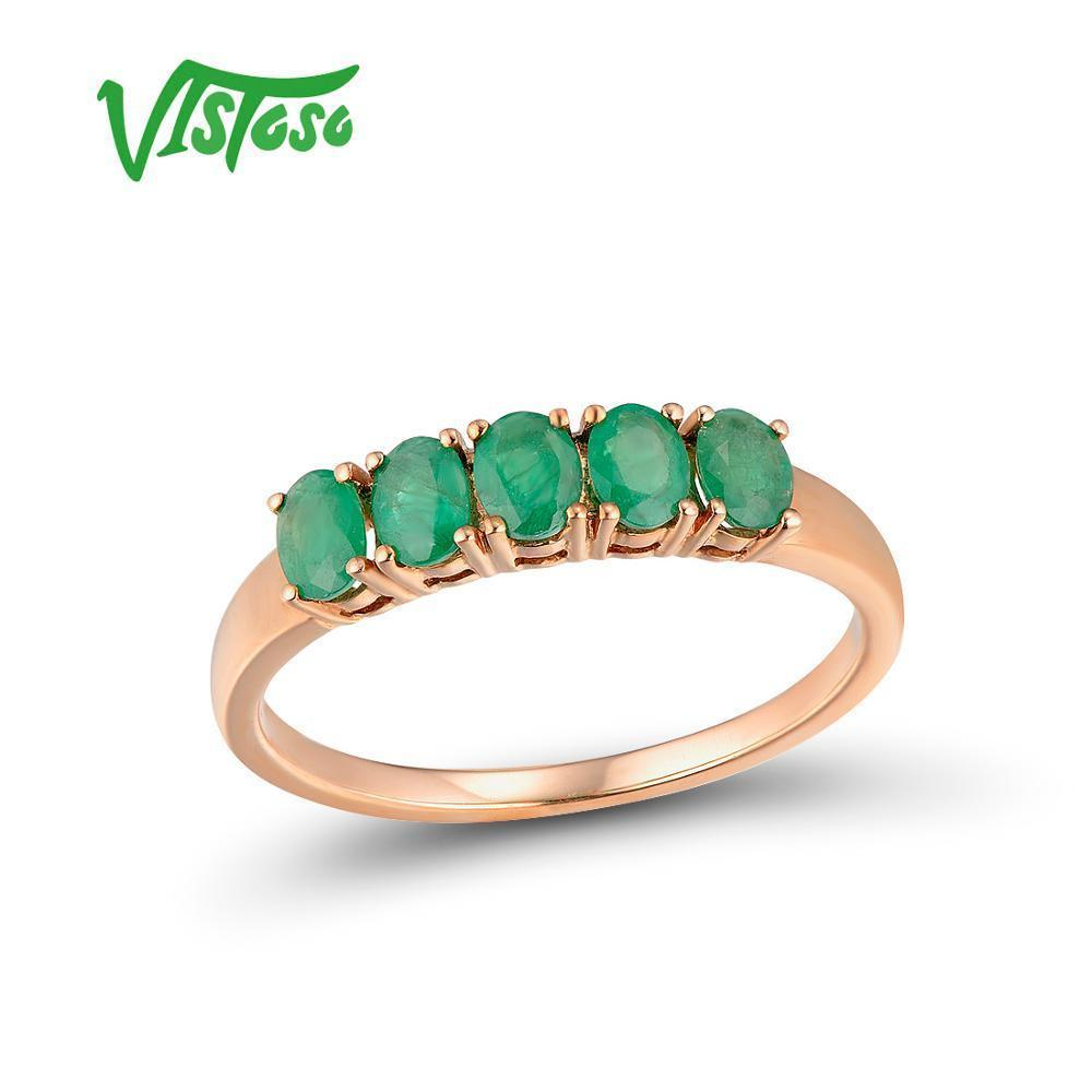 Vistoso Gold Rings For Women Real 14 K 585 Rose Gold Ring Magic Emerald Engagement Anniversary Round Rings Trendy Fine Jewelry Y19070902