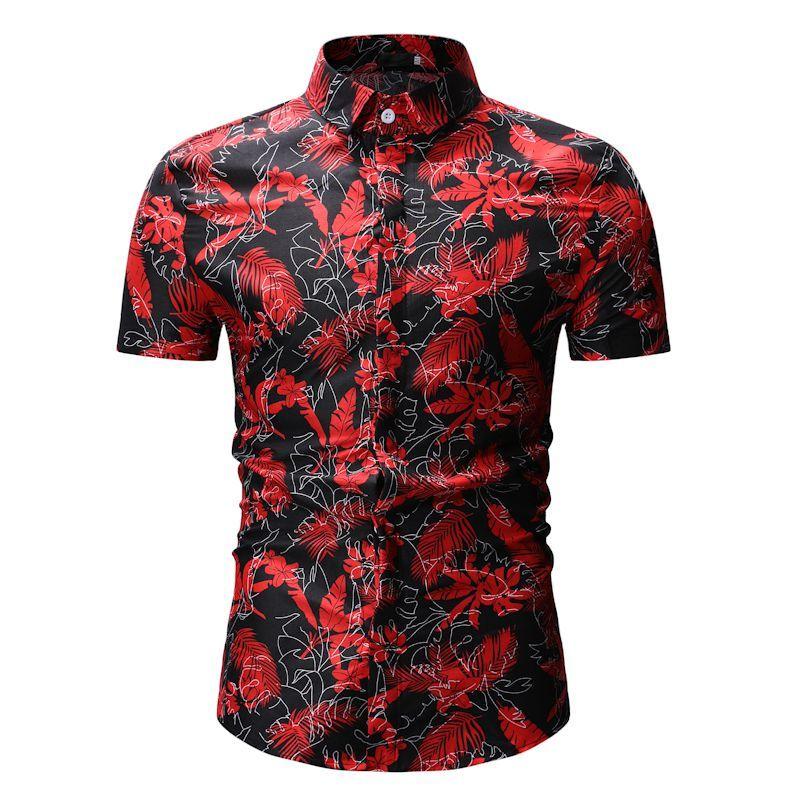 Горячая мода лето рубашка мужская повседневная рубашка личность печати рубашки с коротким рукавом топы черный красный M L XL XXL XXXL