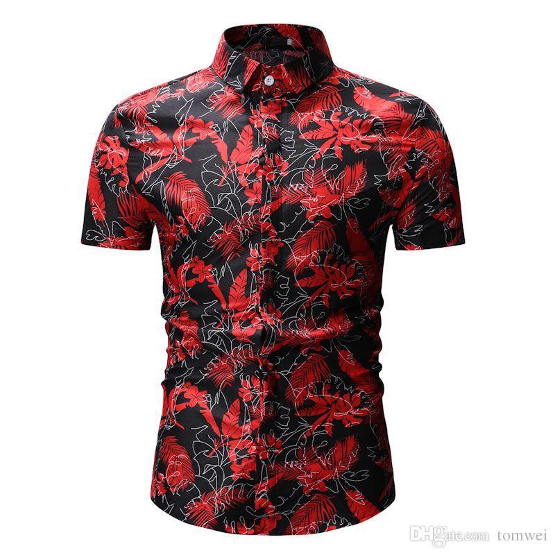 Camisa casual de verano de moda para hombre Camisa casual Personalidad Impresión Camisas Camisetas de manga corta Negro Rojo M L XL XXL XXXL
