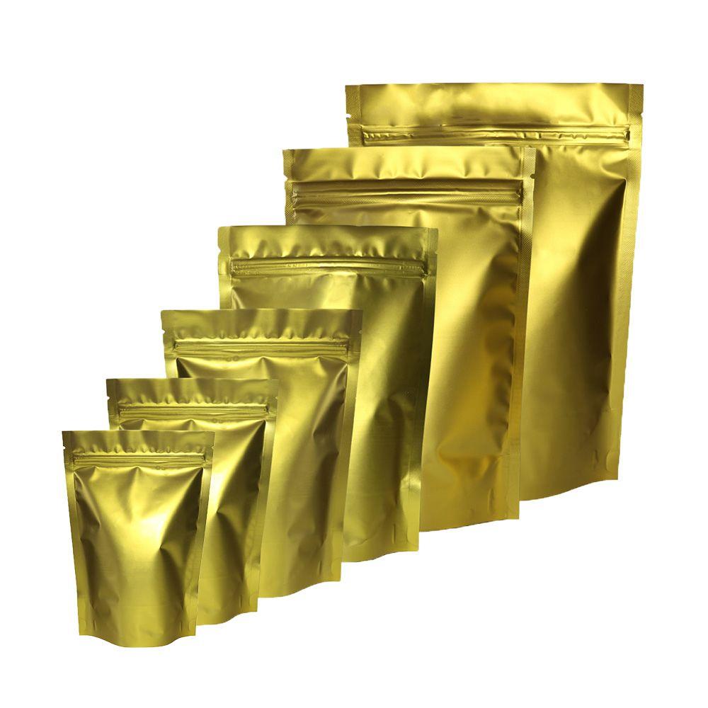 Alta Qualidade Assorted Tamanho Matte Ouro frente e verso da folha de Mylar Levante-Zip Bloqueio Bag Bolsa Para Dom embalagens