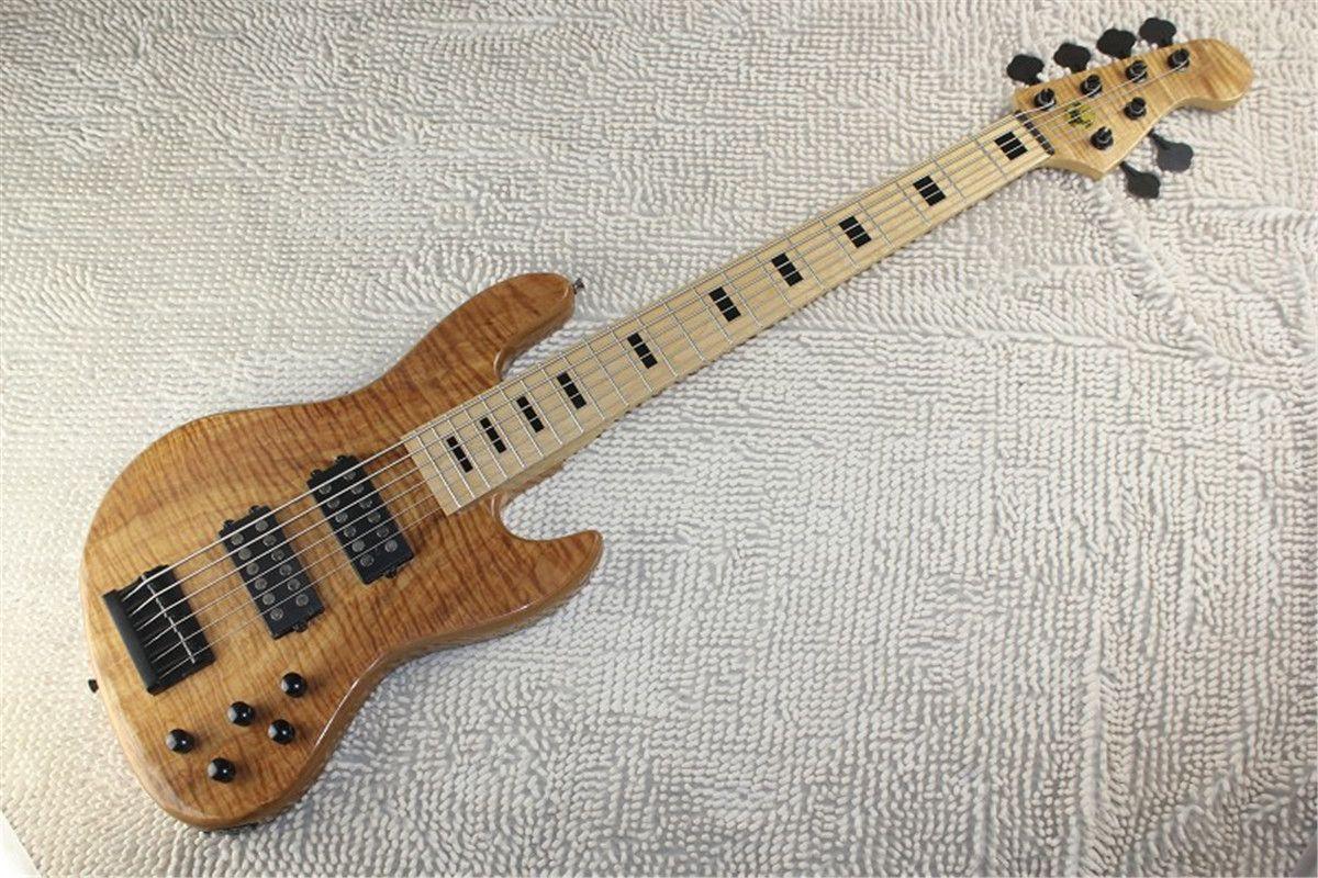 Livraison gratuite Top qualité standard Terre 6 cordes guitare basse en Burlywood avec pick-up actif Basse électrique