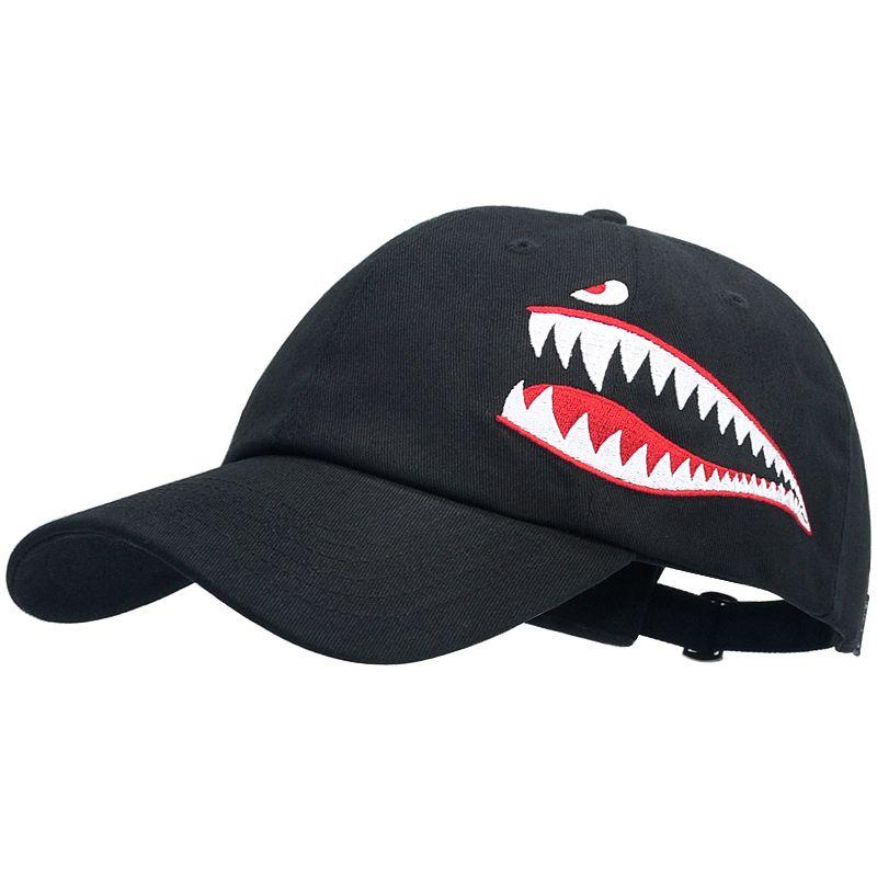 SNAP CORREIA Tubarão bordados Dad Chapéus Descontraído Vintage 6 painel Ball Caps For Men Women In Black Orange ajustável Strapback Uma Fits All