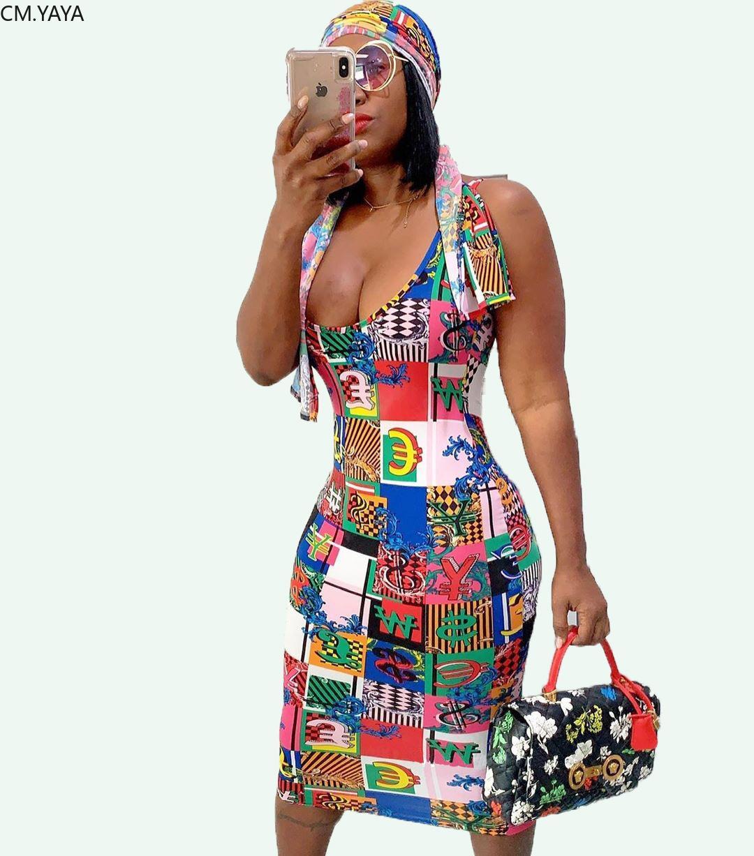 летние женщины Письмо печати рукавов длиной до колен миди bodycon dress sexy nigth club party dresses vestidos головной платок GL5160 T200320