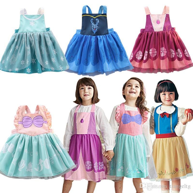 Kids Girl Cartoon Apron Dress 5+ Princess Fancy Oil-Proof Bow Strap Lace Dresses Open Back Girls Costume Anti-pollution Costume TUTU Apron