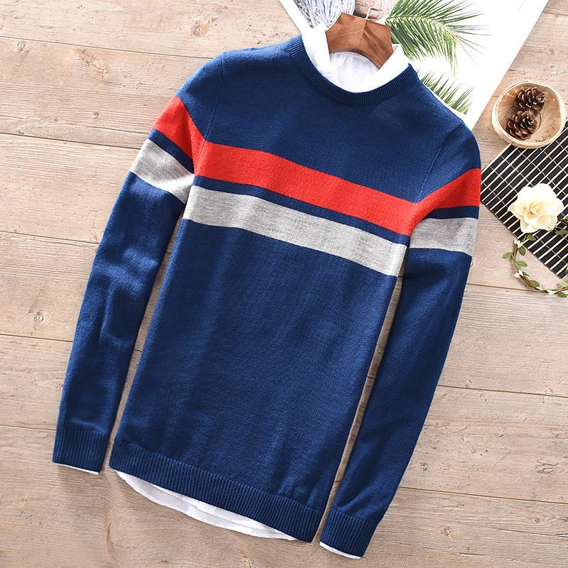 2018 Men's round neck sweater autumn and winter long-sleeved inter-color warm wool sweaters men fashion tops maglione chandail