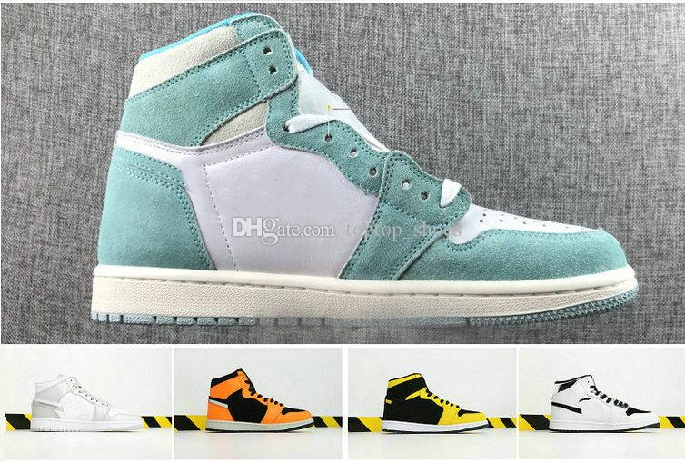 19 New Hot Sale R 1 High OG Turbo Green Grey Sail 1s Men Basketball Shoes J1 High Quality Sneakers School Casual Sports Shoes Fast Shipping.