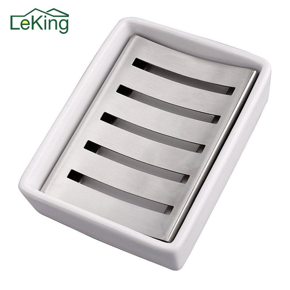 304 Stainless Steel Soap Dish Water Draining Colander European Innovative Handmade Ceramic Soap Holder Box Bathroom Appliances Y19061804