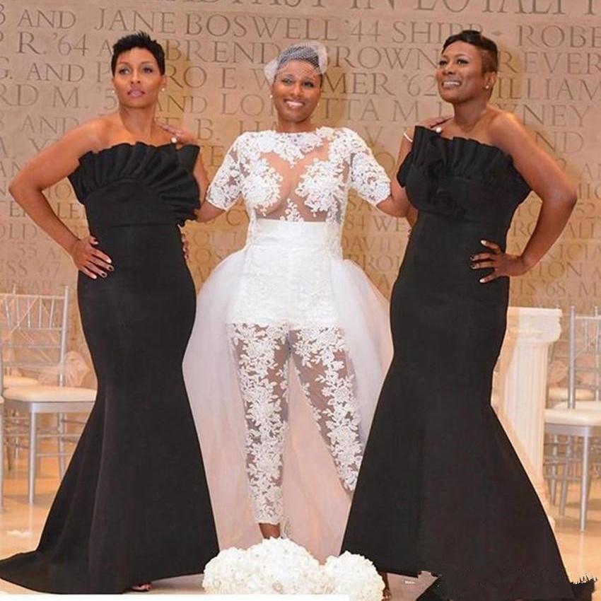 South Africa Mermaid Bridesmaid Dresses Plus Size 2020 Ruffle Strapless Elegant Evening Wedding Party Dress Custom Made