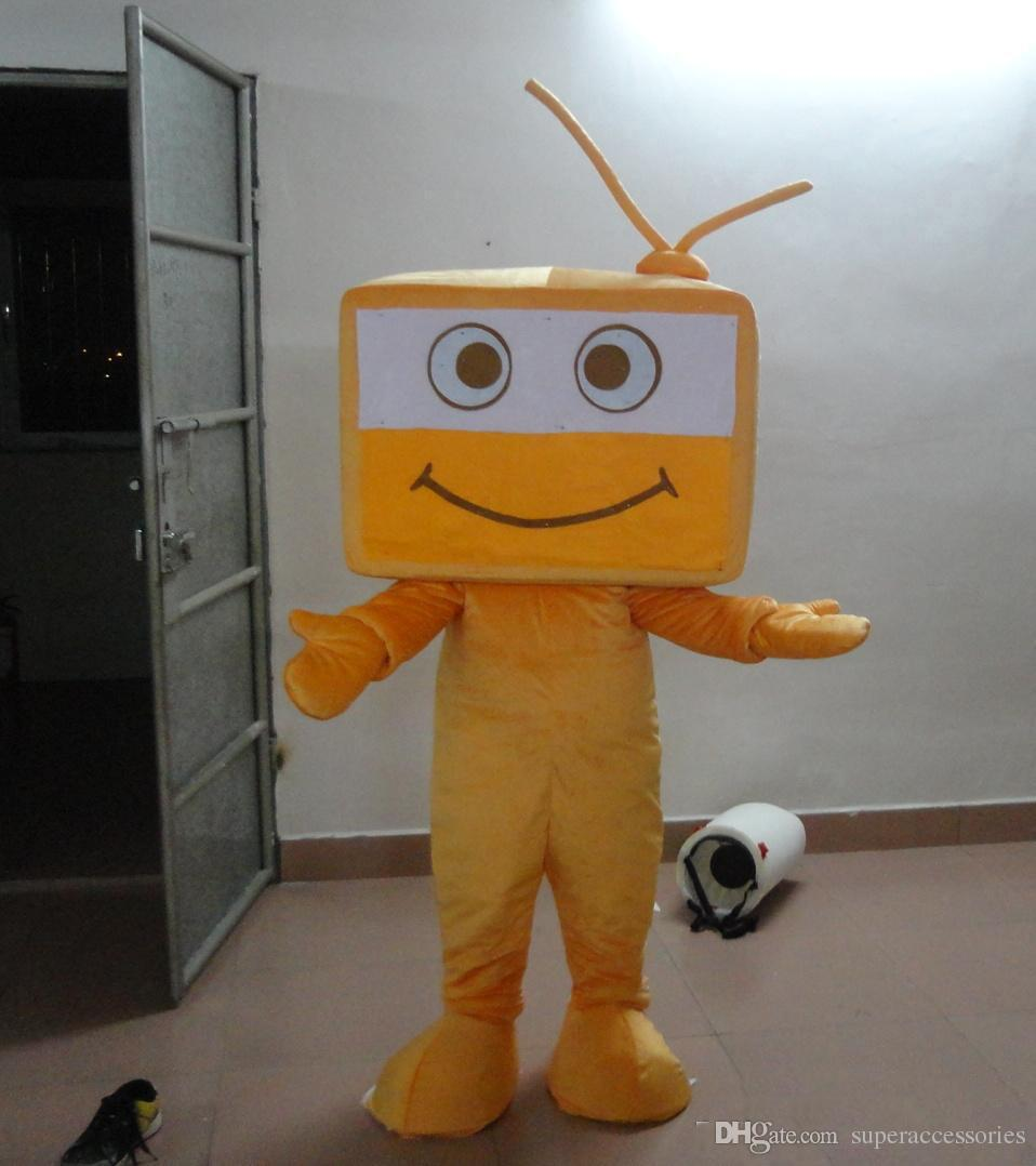Taille adulte Costume De Mascotte De Télévision Jaune Mignon Costume De Télévision De Noël Fête D'anniversaire Fantaisie Robe Livraison Gratuite