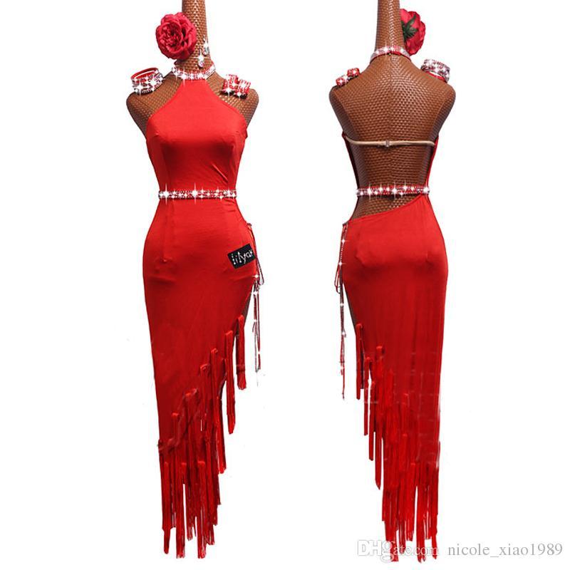 2019 новый взрослый / девушка латинский танец платье женщины сальса танго Чача бальные соревнования танцевальное платье Красный Сексуальная высокая щель горный хрусталь кисточкой платье