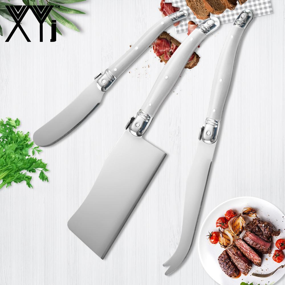 Xyj 3 قطع الجبن سكين مجموعة كيت ساندويتش الموزعة زبدة سكين مجموعة المقاوم للصدأ abs مقبض أدوات الجبن القطاعة المتاحة