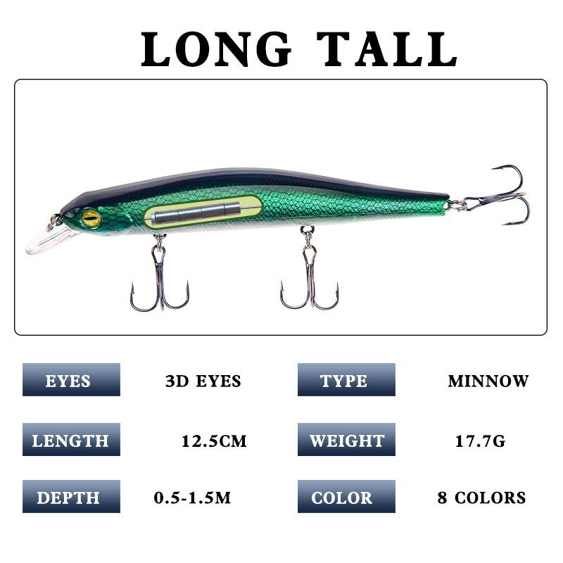 New Built-in Magnetic weight system Minnow swimbaits Fishing lure 125mm 17.7g 3D Eyes Lifelike Fish Swimming Wobbler hard bait