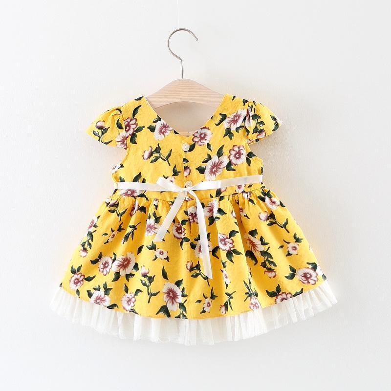 Лето Детей Бутик платья девушка Little Girl Cap Ssleve Хлопок Flroal Платье Одежда корейские 0-3T Маленькие девочки платье без рукавов Cute