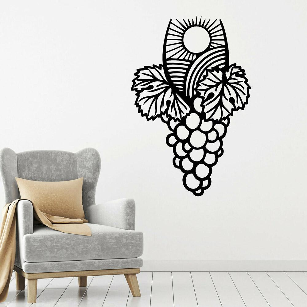 Vineyard Bunch Wall Decal Grapes Winemaking Wine Leaves Stickers Living Room Decoration Vinyl Home Interior Wall Murals