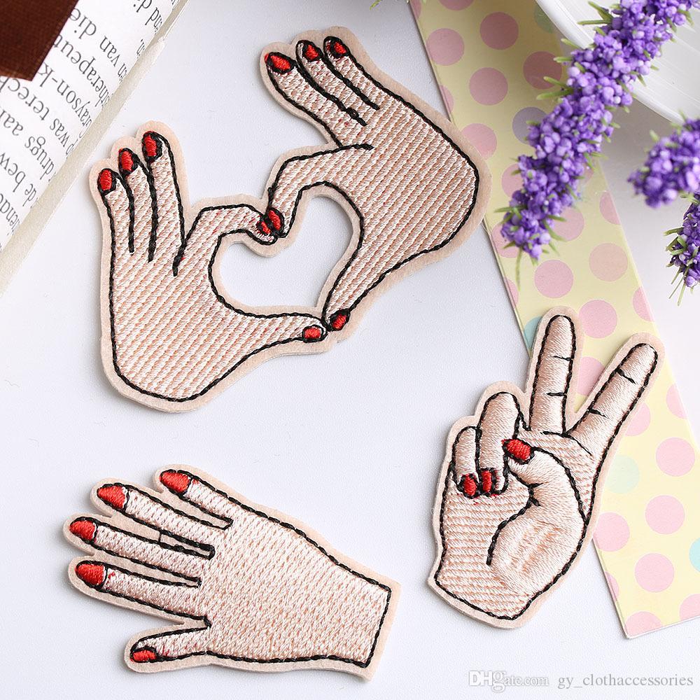옷 가방 의류 DIY 줄무늬 주제 아플리케 사랑 패치에 대한 패치 평화 손 의류 자수 철