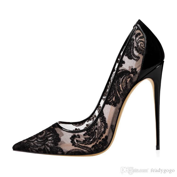 2019 Siyah Dantel Yüksek Topuk eden topuk Gelin Için Düğün Ayakkabı Stilettos Kırmızı Alt Kadınlar Tasarımcı Topuklu Sivri Burun 12 CM Gelin Ayakkabıları