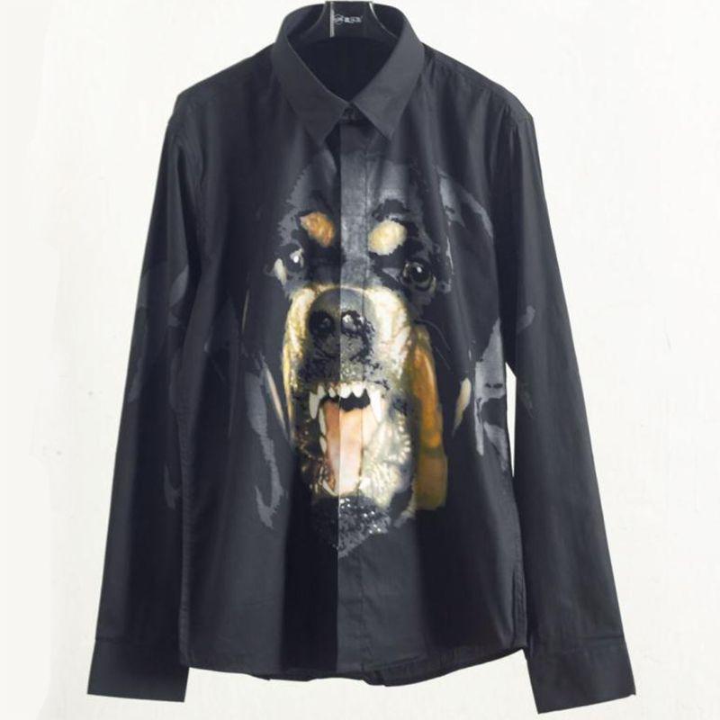 2019 мода мужская рубашка мужской высокого качества с длинным рукавом рубашки свободного покроя приталенный ротвейлер шаблон мужские рубашки