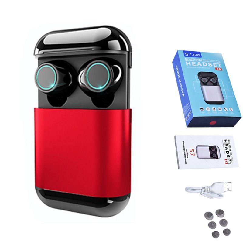 S7 TWS Auriculares Bluetooth Inalámbricos Mini Gemelos Auriculares Bluetooth 5.0 Auriculares Estéreo Verdadero Deportes Auriculares Auriculares Con Micrófono Caja de Carga