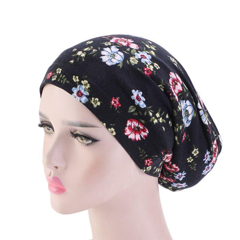 Impresa flor musulmanes turbante de algodón para dormir pérdida de Cap Cap Con Banda elástica para la señora del capo Noche Cabeza y cubierta Satin Hair