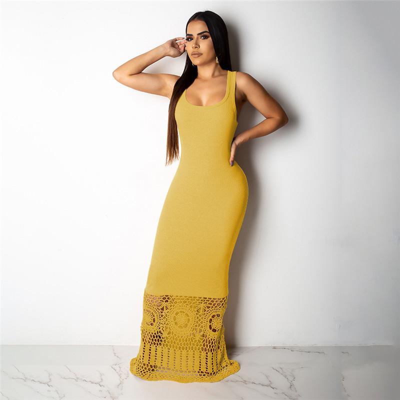 Щитовые Женщины Пром платья Sexy Тонкий элегантный сплошной цвет выдалбливают юбки без рукавов Maxi платья Модные женские платья партии