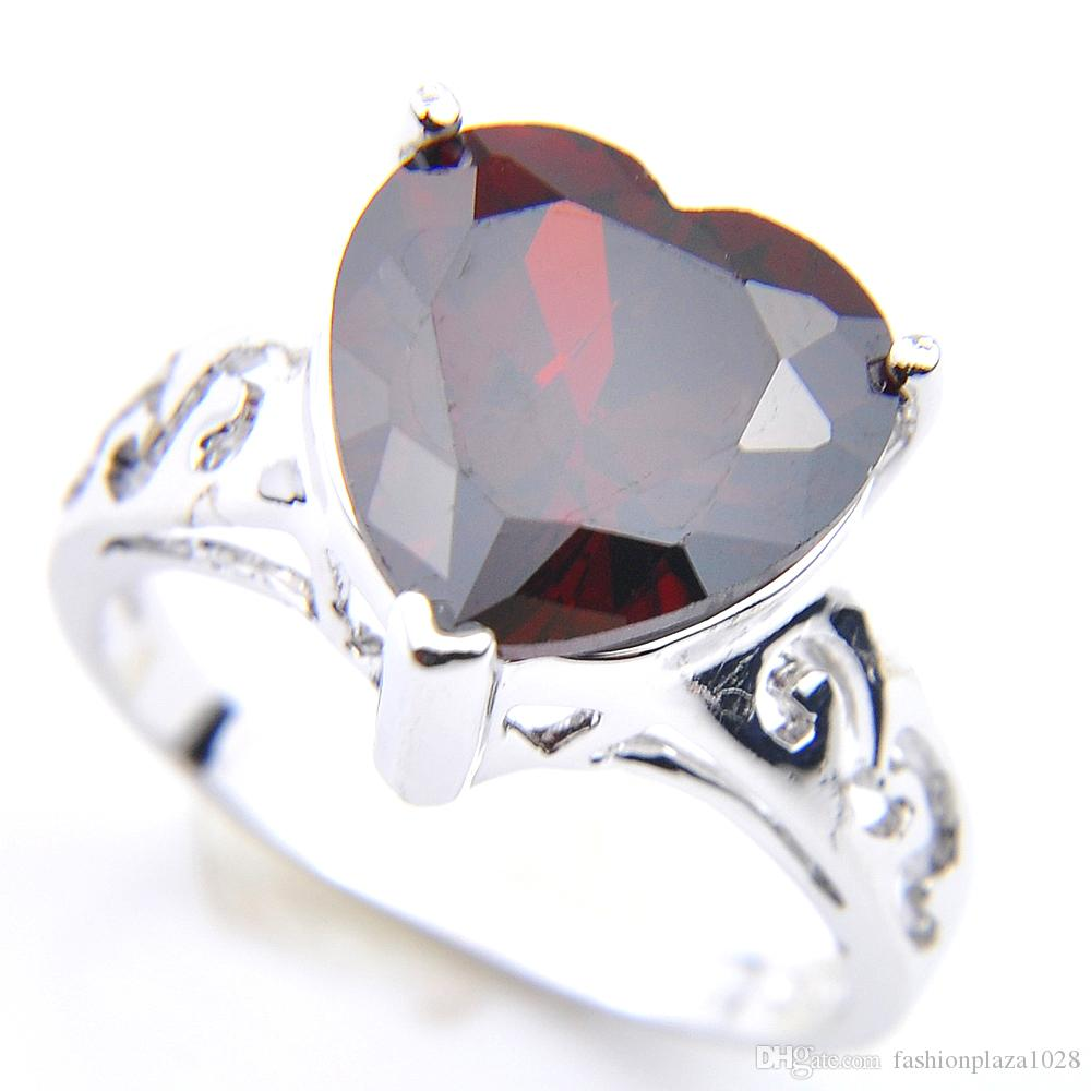 5 Pcs Lot Mother's Gift Classic Cut Heart shaped Red Garnet Rings 925 Sterling Silver Plated For Women Zircon Rings Jewelry