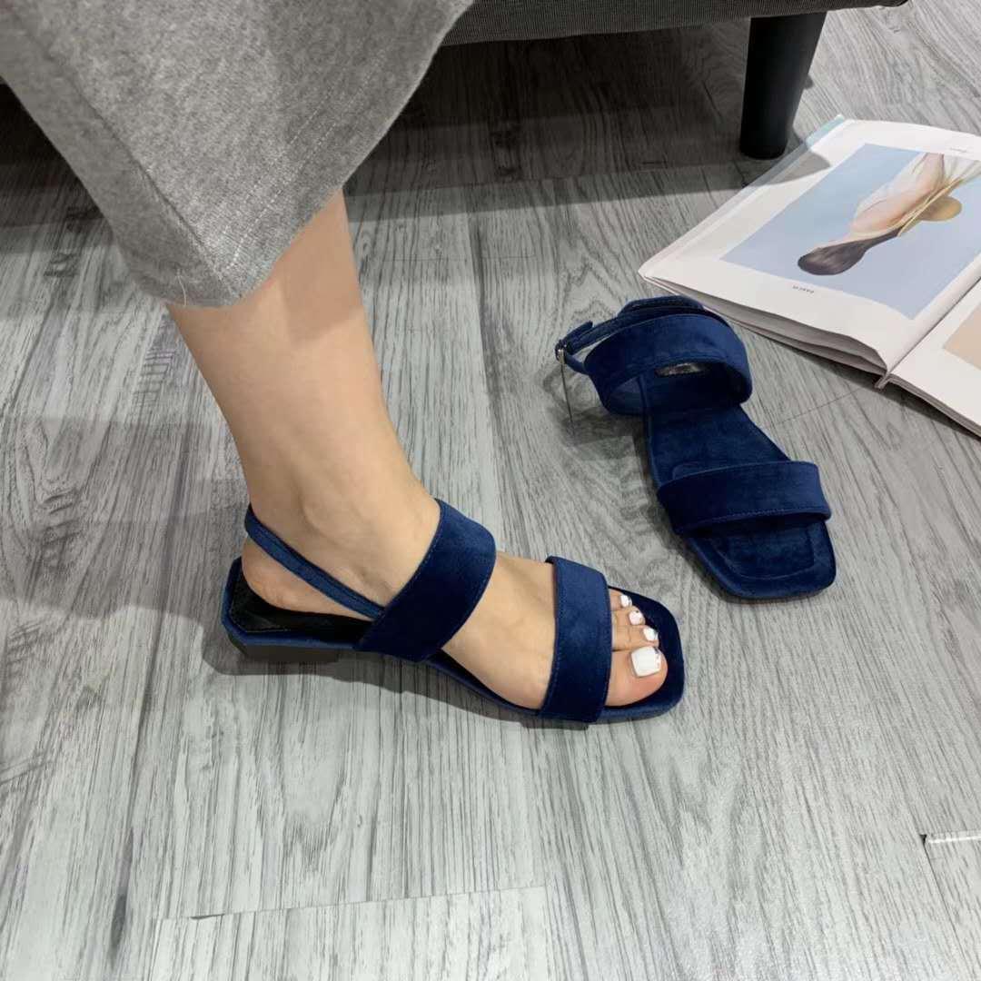 Gorgeous2019 East Like Knock Gate Personalidad Xi Shi Cashmere Toes Sandalias de una palabra de cerrojo Zapatos de mujer