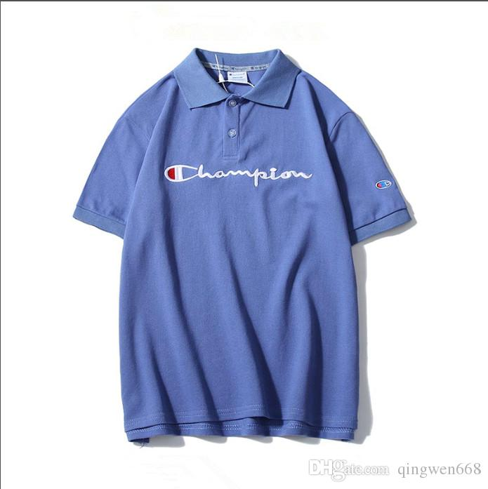 Champion Logo Print Mens Short Sleeve T-Shirt Crew Neck Top Blue Fashion