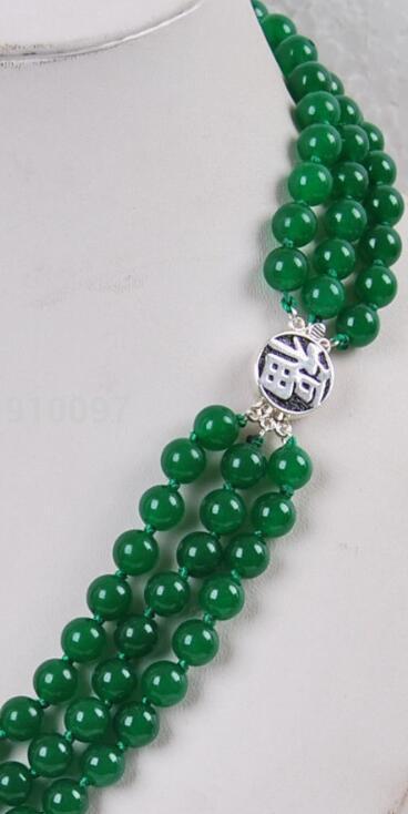 collar libre HH ## 3Rows 8mm joyería verde jade collar de plata del corchete