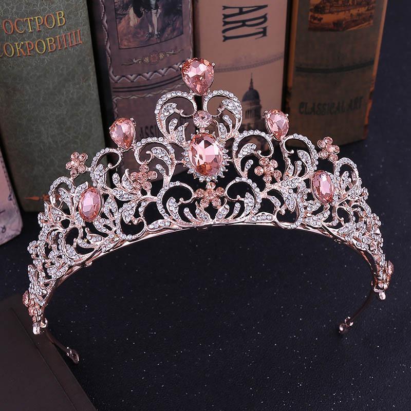 Baroque nuptiale Accessoires cheveux de mariage Tiara Couronne Rouge Vert Bleu Princesse Couronne pour les filles Cristal Bandeau Bijoux Diadème