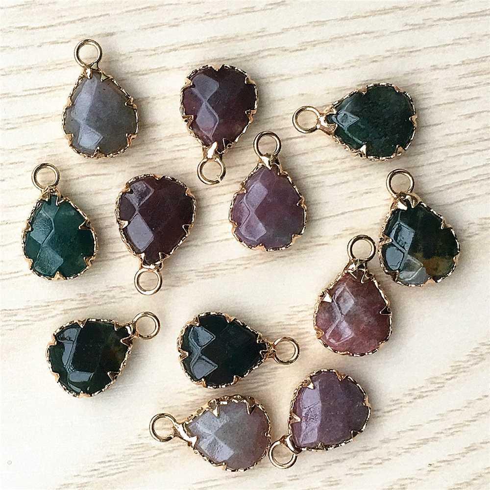 Hot!! Gazelle Gold Natural Stone Pendants  Agates Bulk Bracelet Necklace Connector For Fashion Jewelry Earring Making12PCS