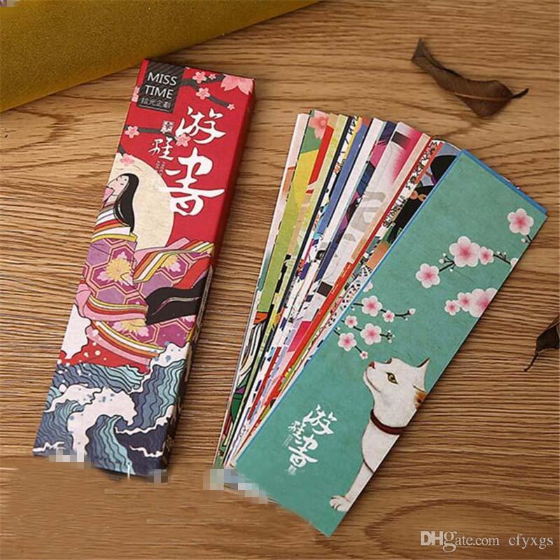Cute Kawaii Paper Bookmark Vintage Japanese Style Book Marks For Kids School Materials