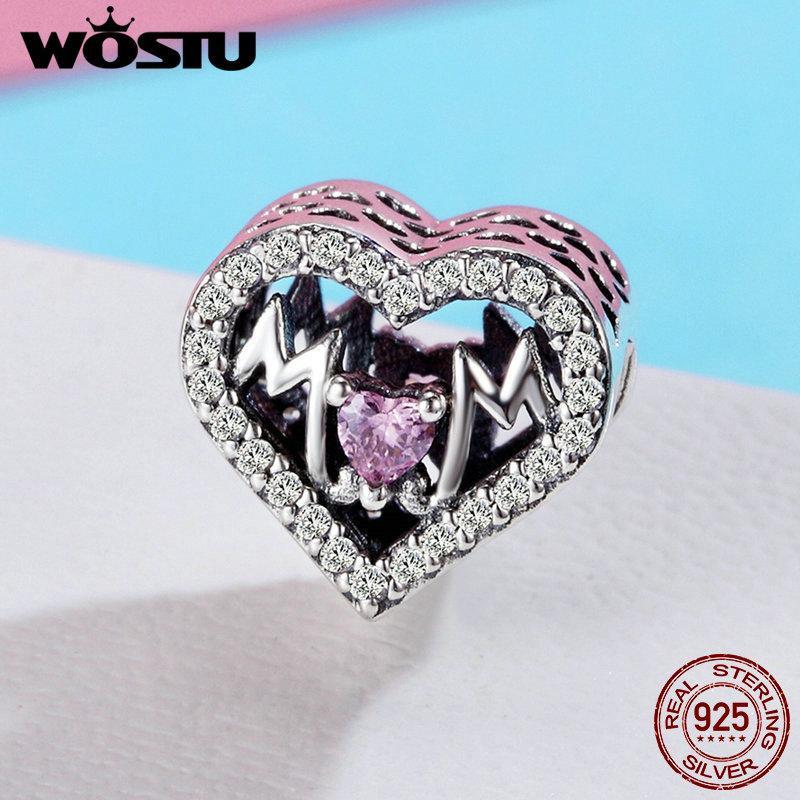 WOSTU Высокое качество 925 стерлингового серебра мама Любовь сердце, розовый CZ бисер Fit Оригинальный браслет ювелирных изделий DIY Mother подарков FIC395
