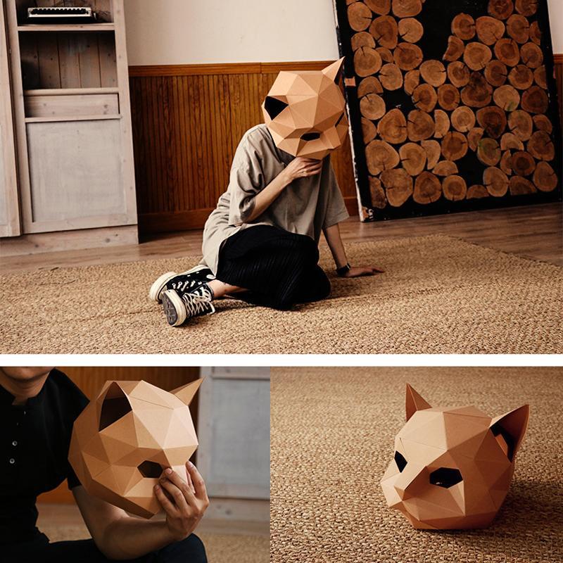 Masque de chat bricolage créatif Handwork Hallowen Masque papier Matrice Cosplay Party Tête d'un animal 3D Décoration Photo Prop