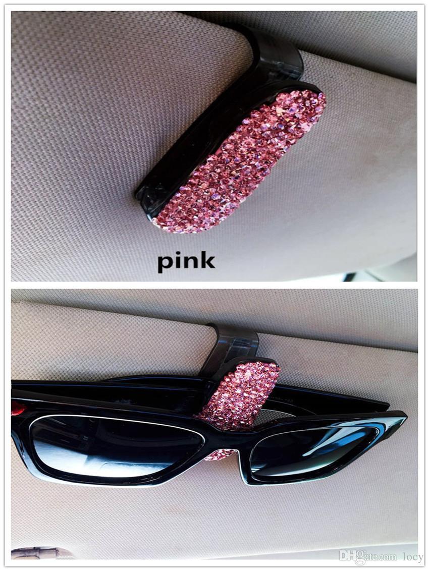 2X Diamond Auto Sun Visor Clip Holder Storage Mount for Sunglasses Glasses Car Accessories