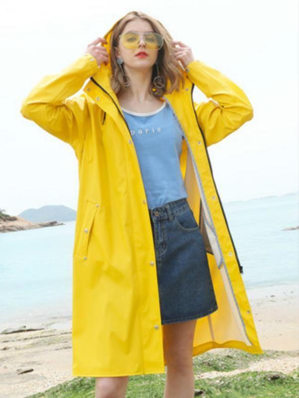 Long Body Rain Coat Women Yellow Raincoat Men's Waterproof Outdoor Rain Poncho Women's Pink Windbreaker Jacket Hiking Gift Ideas