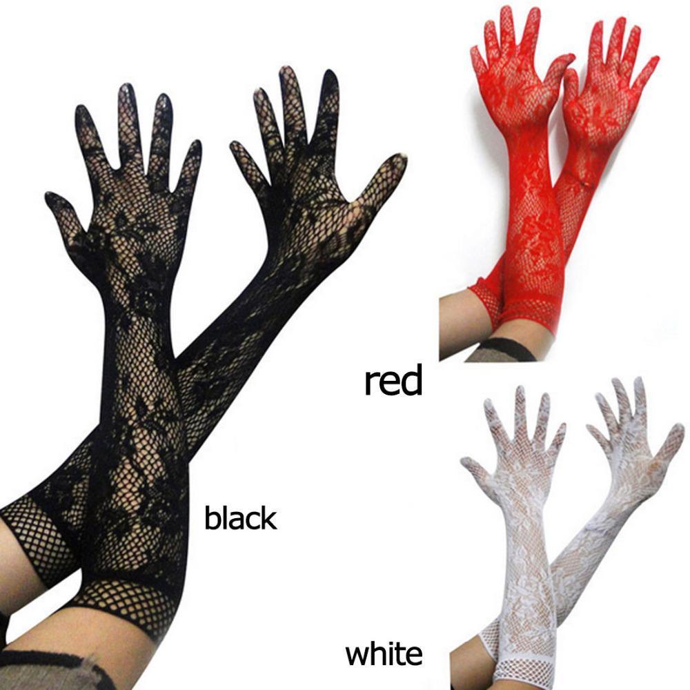 Frauen-reizvolle transparente Spitze elastische Handschuhe Satin-Bogen Trendy Stretch-Spitze opear Braut Ellenbogen Länge Netzs Lang-Hülse Handschuhe