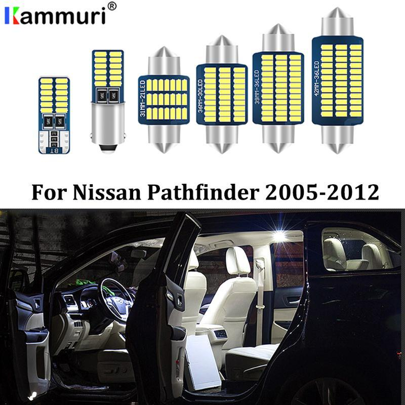 Kammuri 12pzas sin error de LED blanco del interior del coche Paquete Kit de Luz 2005-2012 Pathfinder LED Luces interiores