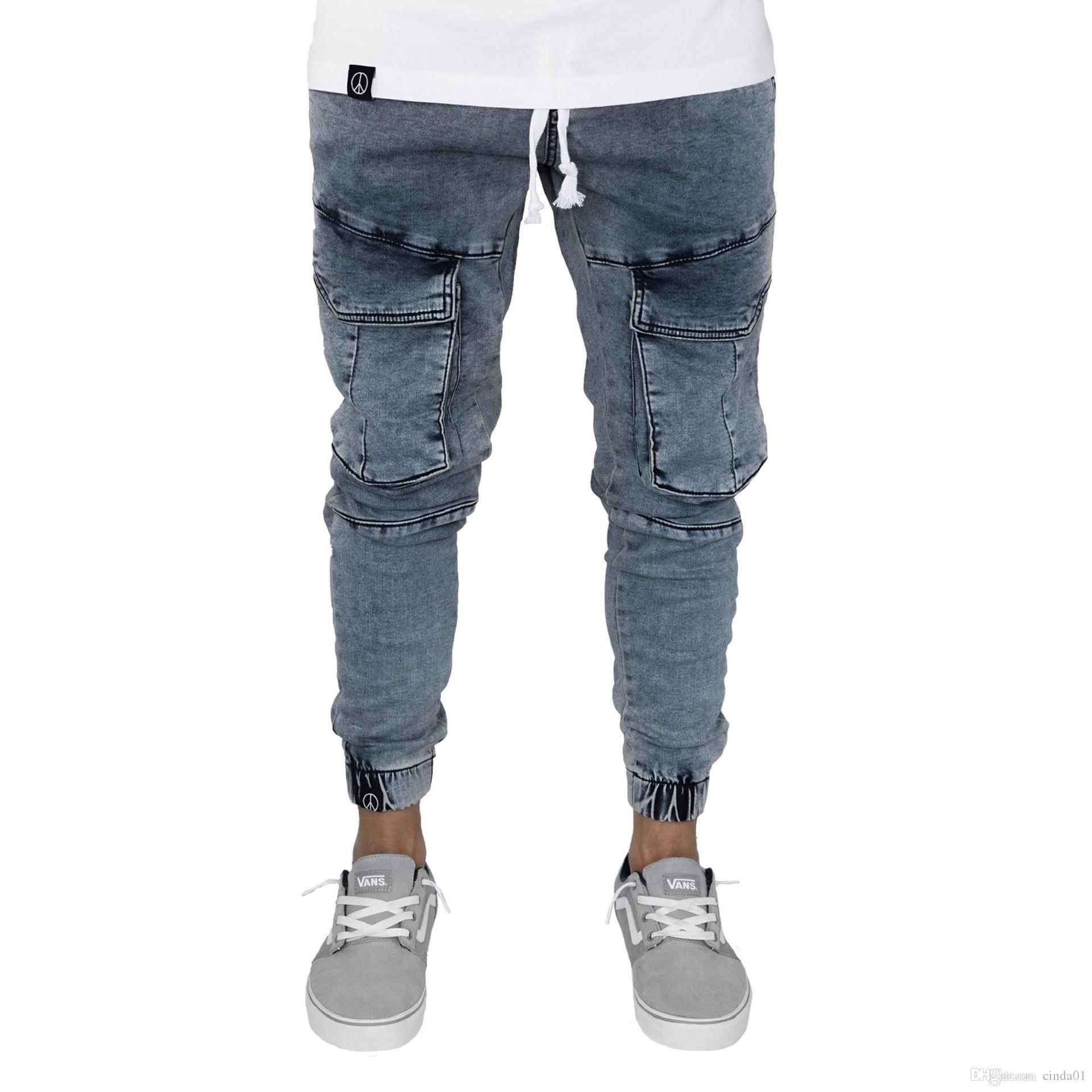 Casual Elastic Pantalon Crayon Crayon Minute Jeans Pocket Cool Slim Cadrage à la mode Nouveau Centre de style Vent urbain Neuf BCAJV