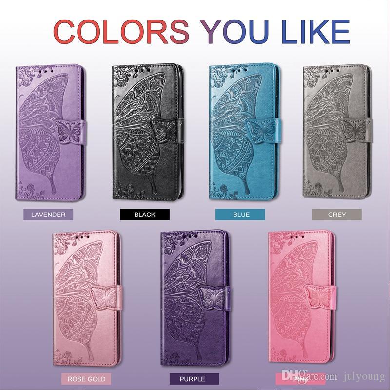 Deri Cüzdan Kılıf Iphone 5.8 6.1 6.5 inç 2019 Galaxy Not 10 Pro S10 5G Huawei Onur 20 Pro Baskı Kelebek Lüks Telefon Kapak