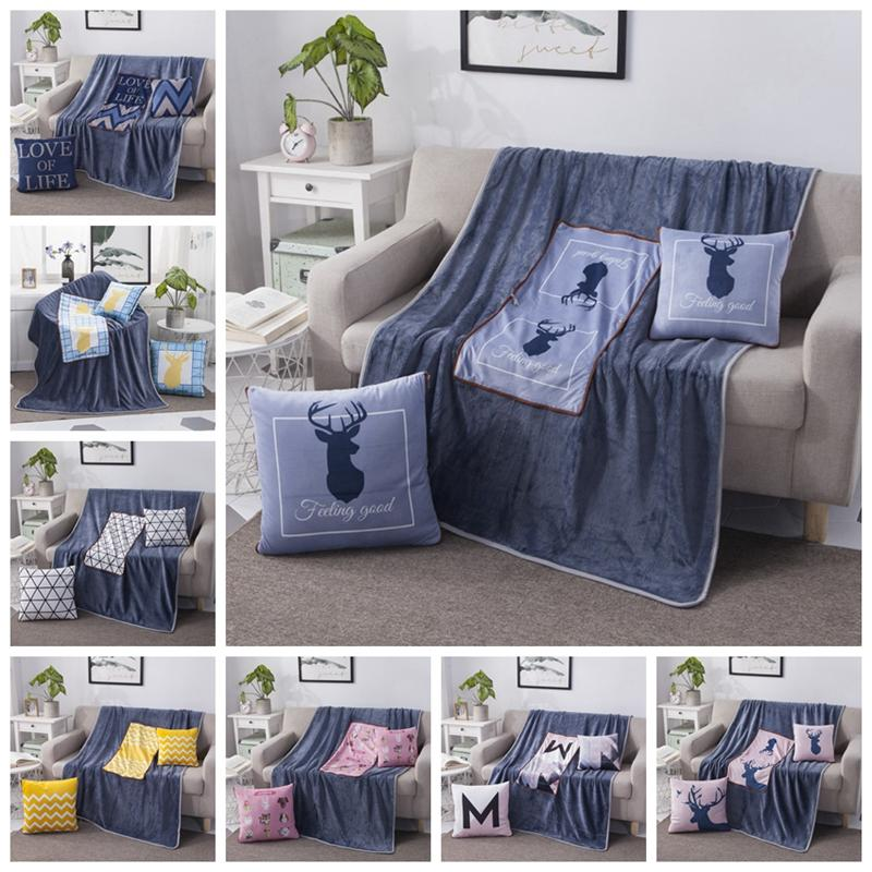 2 in 1 Cotton Nordic Cartoon Deer Foldable Patchwork Soft Quilt Blanket Printed Square Home Office Car Throw Pillow Back Cushion