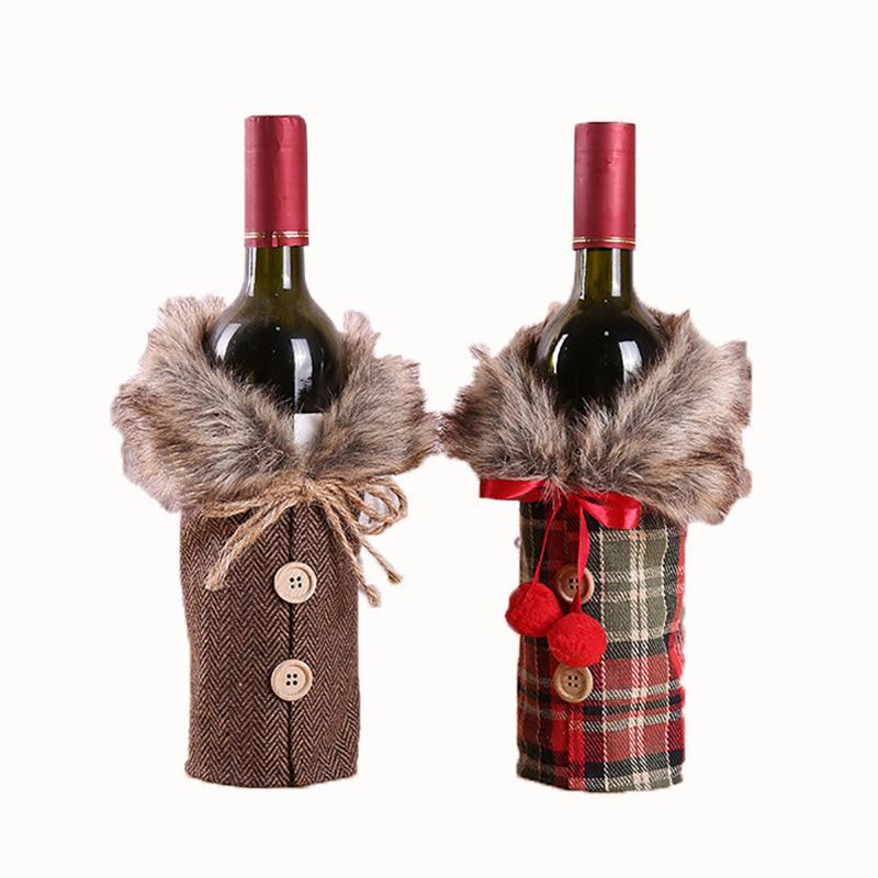Navidad vino determinada de la manera de la tela escocesa del nudo del arco Botella ropa botella de vino de la cubierta del partido Decoraciones festivas de Navidad