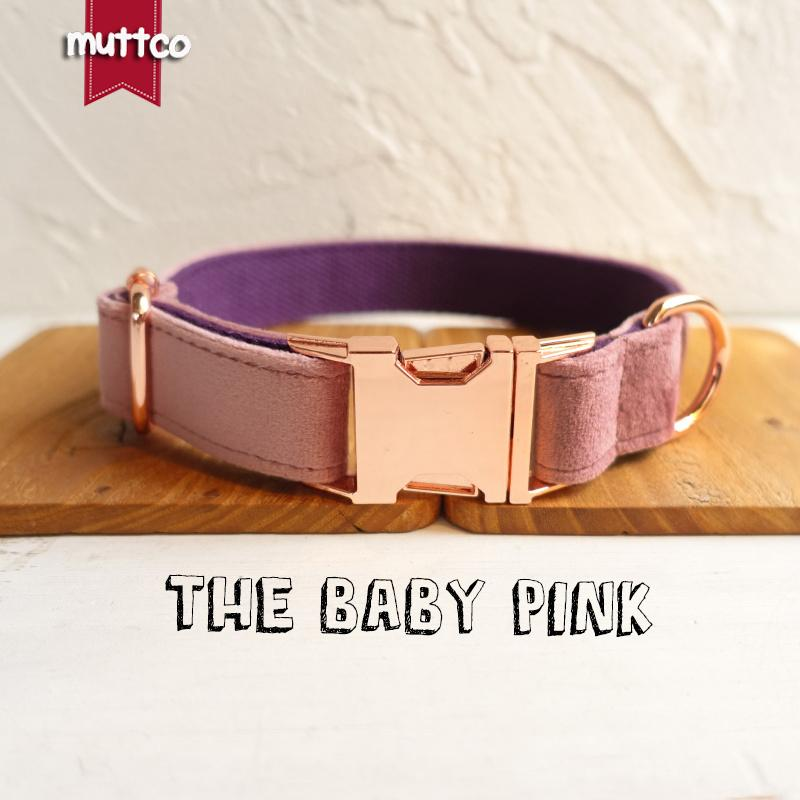 MUTTCO Adjustable dog collar THE BABY PINK handmade pet products 5 sizes metal buckle double cloth dog collar and leash UDC080M