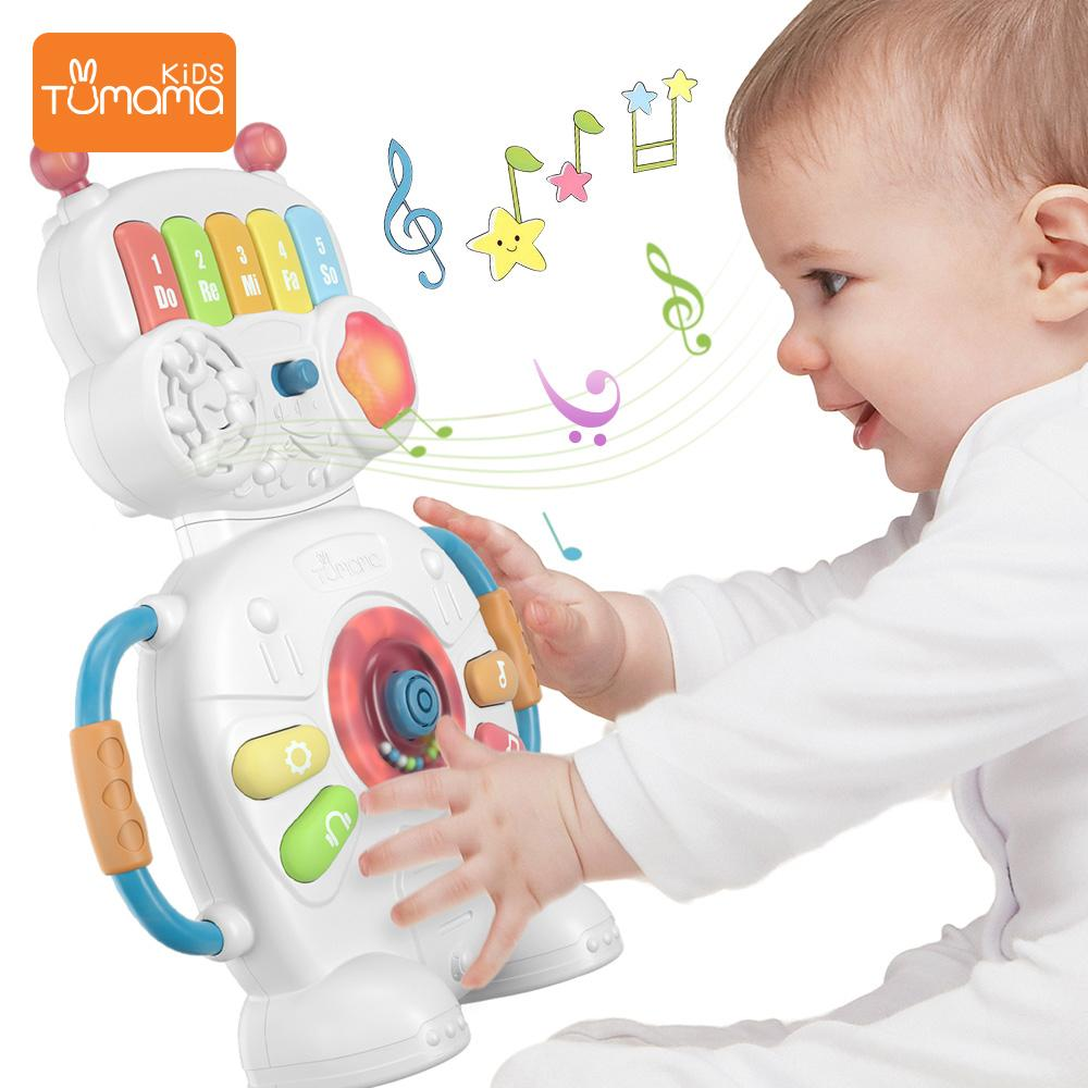 Tumama Многофункциональный музыкальный игрушки Робот Пианино Музыка Свет Игрушки 0-12 Развивающие игрушки для детей Музыкальные инструменты CX200608
