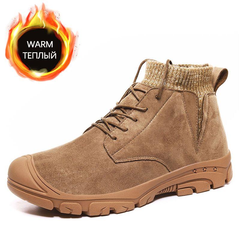 Botas de invierno Hombres cálidos Snow Cuero de gamuza de gamuza de alta calidad Hombre Tobillo Luz de peluche Plataforma antideslizante para hombre zapatos de piel