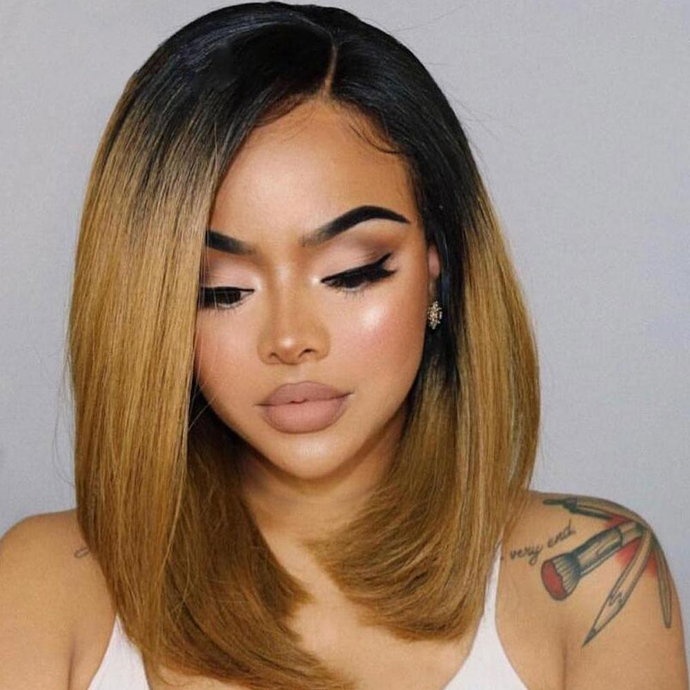Deep Part Lace Front Bob Wig Remy Brazilian Straight Short Cut 150% Ombre Black Honey Blonde Pre Plucked Hairline Human Hair Wigs