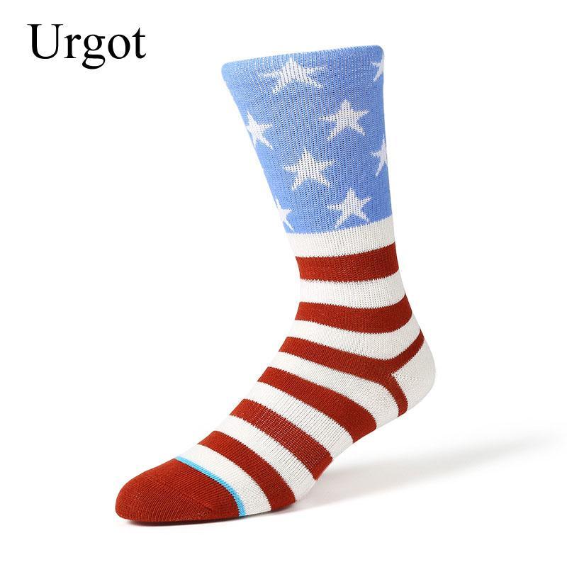 Urgot 6 Paar Männer Amerikanische Flagge Stern Muster Baumwolle Crew Socken Kleid Marke Harajuku Design Glücklich Lustige Kunst Socken Männer Calcetines