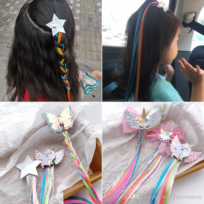 Novas meninas sonham unicórnio colorido estrela borboleta peruca grampos de cabelo crianças grampos de cabelo headbands presilhas crianças acessórios para o cabelo