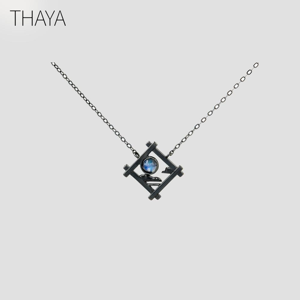 Thaya Endless Night Blue Natrual Moonstone Pendant Necklace S925 Silver Sky Window Cloud Mysterious Black Jewelry For Women J190524