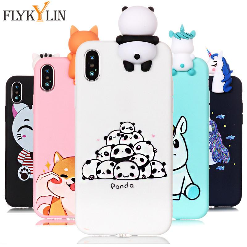 For iPhone XS Max 7 Plus Case Unicorn Soft Silicone 3D Dolls Toy Cover on for iPhone 6 6s 7 8 X XR XS Max 5 5s Phone Cases Coque